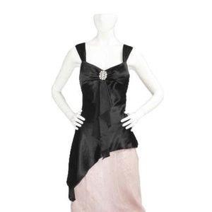 Mary L Couture Fancy Black Satin Top Size Large